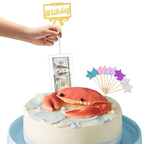 Cake Money Box Set, Money Pulling Cake Making Mold, Cake Money Pull Out Kit for Birthday Party Decoration,With 10PCS Shiny Cake Stars Topper