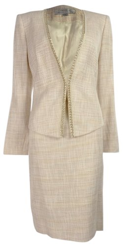 Tahari Women's Sasha Vintage Vibe Skirt Suit Set (10, Pink/Ivory/Yellow)