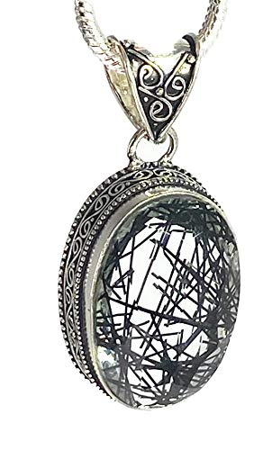 Rutilated Quartz and Silver Pendant Including the Chain