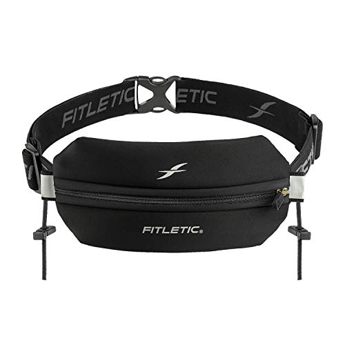 Fitletic Neo Race Belt, Black | Unique No Bounce Design for Marathon, Triathlon, Trail, 5k, 10k | Running Belt | N01R-01