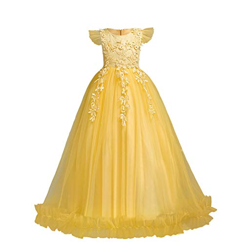 Flower Girls Dress Bridesmaid Wedding Pageant Party Princess Communion Floral Boho Vintage Lace Dance Maxi Gown for Kids Yellow 7-8 Years