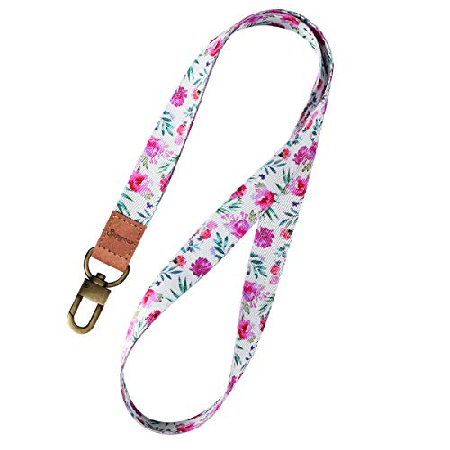Supgear Lanyard with ID Holder, Neck Strap for Women and Girls Wristlet Keychain Premium Printed Keychain Lanyard for Key, Mobile Phone, Card Holders and ID Badges (Peony)