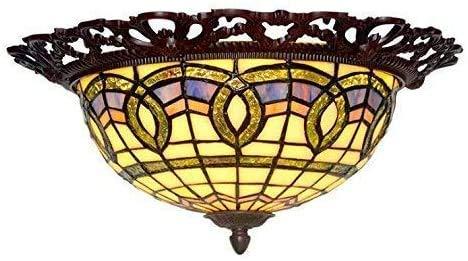 Wtbew-u Lámpara de Techo, luz de baño Estilo Lámpara de Techo Vidrio Hecho a Mano Barroco Vintage Mar Mediterráneo Lámpara de Techo Redonda para Foyer Cama Habitación