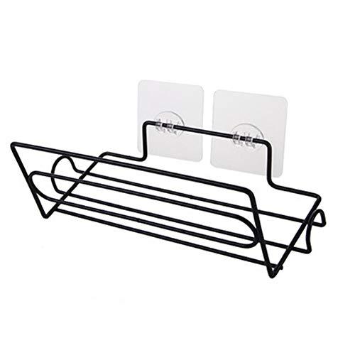 Yadass Soporte de tela de hierro, estante refrigerador libre perforado, compacto, adecuado para el almacenamiento de objetos pequeños en frigoríficos y inodoros (negro)