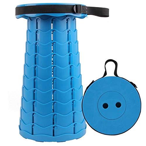 KAJI Taburete de plástico Flexible para Exteriores Estiramiento Campamento de Pesca Silla Plegable Taburete portátil 26cm, Azul