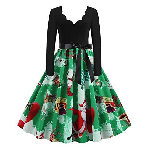 Kviklo Vestido de Navidad para mujer de los años 50 Vintage Impreso Una línea de Swing Vestido de cintura alta con cinturón