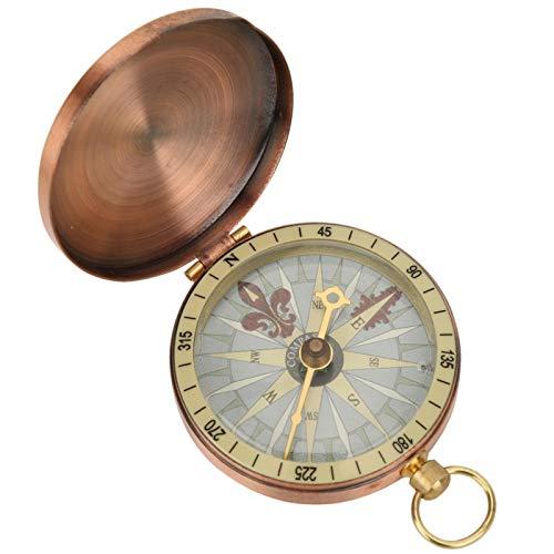 Brújula vintage ligera, duradera, portátil, retro, de metal, de cobre, con tapa abatible, reloj de bolsillo, brújula para acampar, caminar, viajar, etc.(compass)