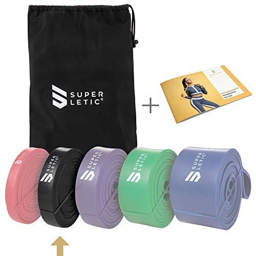 SUPERLETIC Powerbands, Widerstands-Fitness-Bänder, Pullup und Resistance-Training, 5 Stärken, rot, schwarz, lila, grün und blau, mit Workout-Guide (2 - MEDIUM (Schwarz))