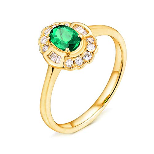 AtHomeShop Real Gold Collection, 18K Yellow Gold Rings, Oval Flowers Solitaire Ring with Sparkling Oval Emerald Marriage Proposal Ring for New Year Gift, Polished, Nickel-Free gold