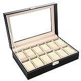 Aiglen Caja de Reloj de Cuero PU Organizador de Pantalla con Almohadas de Cuero Suave para Hombres y Mujeres Cajas de presentación 12 Ranuras