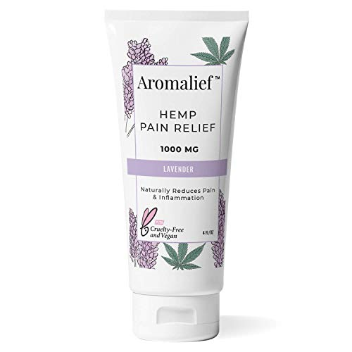 Aromalief Hemp Cream with Lavender Aromatherapy - 1000MG Made in USA - Relieve Stress, Muscle & Joint Pain- Menthol, Glucosamine, Chondroitin MSM - Vegan & Cruelty-Free…