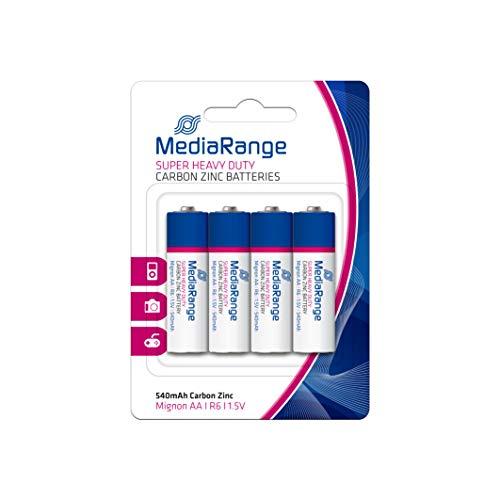 MediaRange Super Heavy Duty Batterien, Zink-Kohle, Mignon AA|R6|1.5V, 4er Pack