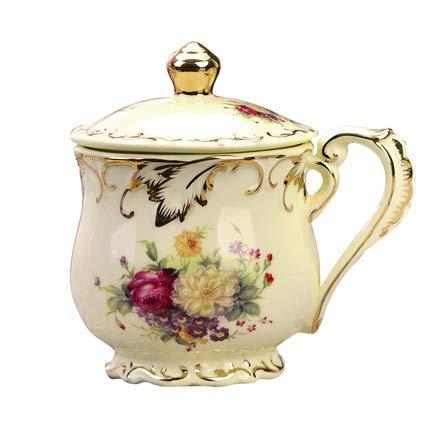 FHFF Koffie Beker Ivoor Keramische Thee Beker 350Ml Herbruikbare Drinkware Porselein Koffie Beker met Deksel voor Gift 350Ml Zee Bloem
