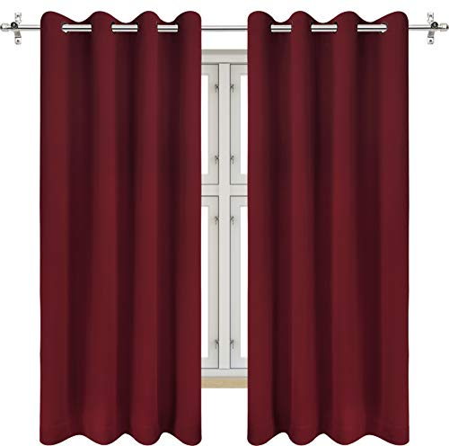 Utopia Bedding 2 Panels Grommet Blackout Curtains Thermal Insulated for Bedroom, W52 x L63 Inches, Burgundy