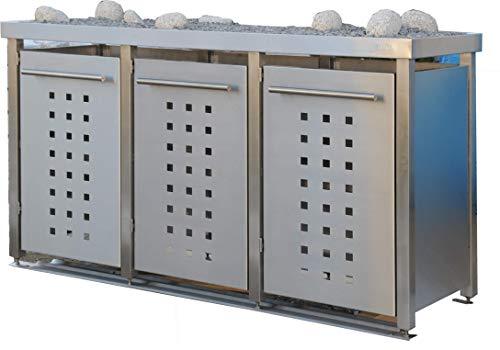 Mülltonnenbox aus Edelstahl mit Edelstahlpfosten, aufgebaut (3X 120l mit Pflanzwanne und T-Design)