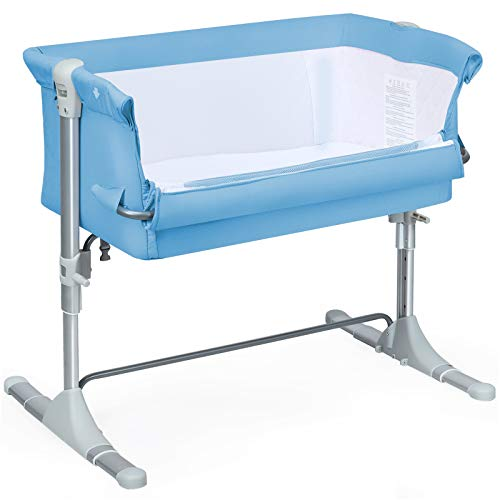 COSTWAY Bedside Sleeping Crib, Height Adjustable Breathable Mesh Window Baby Play Pen for Newborn Toddler, Folding Bassinet Side Sleeper Travel Cot with Washable Mattress and Storage Bag (Blue)
