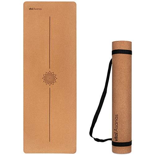 Vital Asanas Premium Yogamatte Hochwertige rutschfeste Fitnessmatte mit praktischem Tragegurt - aus natürlichem Rohstoff, 100% Natur Kork - Gymnastikmatte Sportmatte für Yoga Pilates - Yoga Matte