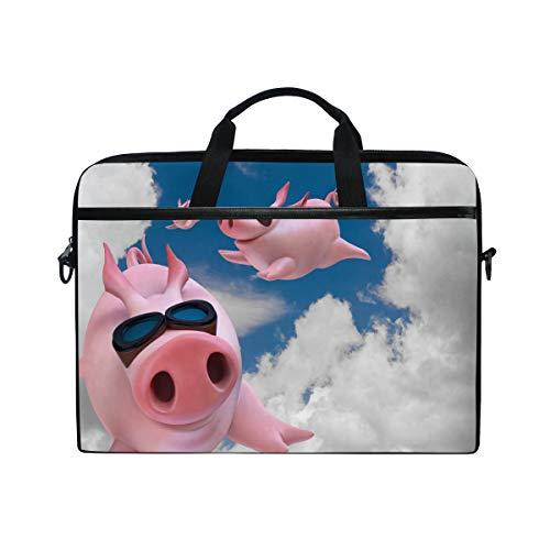 QMIN Laptop Bag Case Pig Piggy Animal Pattern Computer Sleeve Zip Messenger Bag with Shoulder Strap for 14-14.5 inch Computer