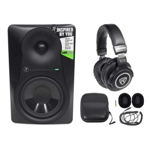 Best Bargain Mackie MR624 6.5 65w Powered Studio Monitor Class A/B Bi-Amp Speaker+Headphones