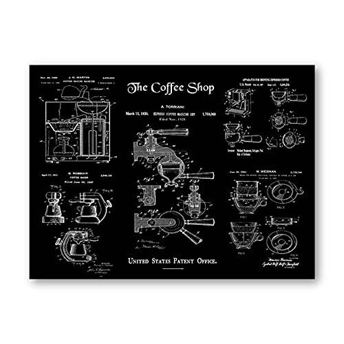 LTGBQNM Kaffe Patent Canvas Poster Barista Presentkort Kaffe Butik Inredning Kaffe Tryck Kaffe Lovers Gåvor Vintagekonstmålning Vägg Bild 20x28Inchx1 Ingen Ram