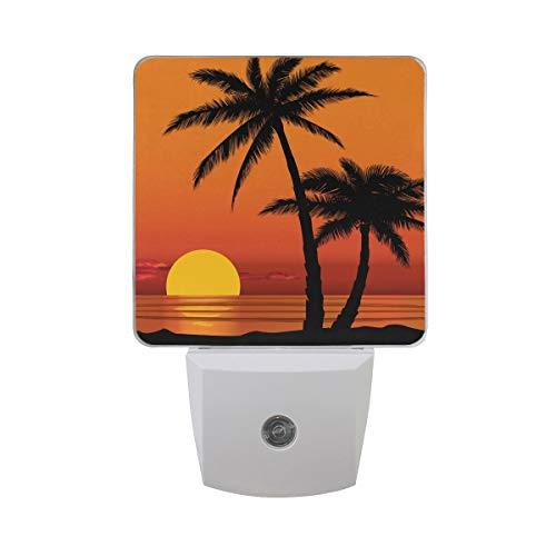AOTISO Palmboom op zonsondergang Oceaan Strand Zomer Ontwerp aan zee Auto Sensor Nachtlampje Plug in Binnen