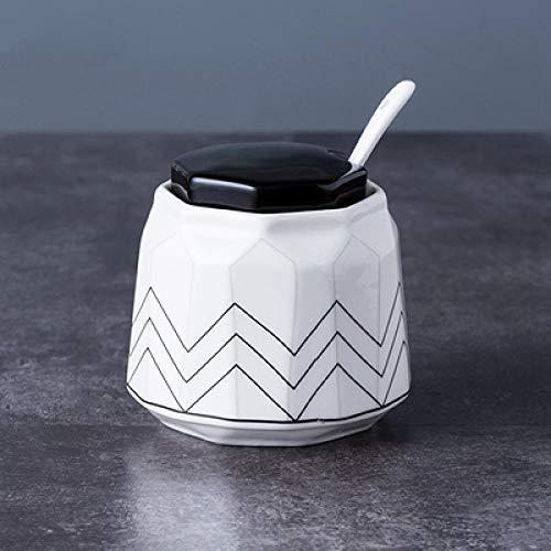 Opslag Potten luchtdicht Geometrische Lijnen Ontwerp Sugar Bowl Thuis Keuken Ceramica Zout Condiment kruiden Suiker Container Opslag met Deksel Lepels-1_pcs_no_Tray