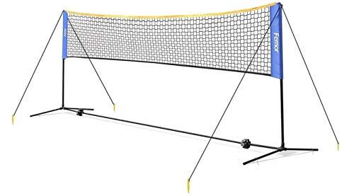 Femor Set de Red de Tenis Bádminton Portátil Desplegable Ajustable, Red para Voleibol para el Interior o al Aire Libre, con Soporte y Bolsa, Altura Ajustable 4 x 1.5 x 1m, Fácil Instalación