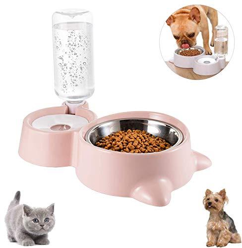 Cuenco Doble para Mascotas,Comedero para Perro Gato Comedero Automático Mascotas y Dispensador de Agua,Cuenco para Comer con Botella de Agua dispensador de Agua,para Mascotas, Perros, Gatos (C)