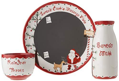 Child to Cherish Santa's Message Plate Set, Santa Cookie Plate, Santa Milk jar, and Reindeer Treat Bowl