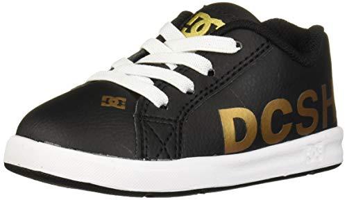 DC Girls Court Graffik Elastic SE UL SN Skate Shoe, Black/Gold, 8 Little Kid