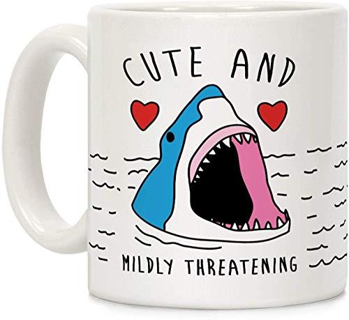 Taza de café de cerámica con diseño de tiburón blanco y amenazante, 325 ml