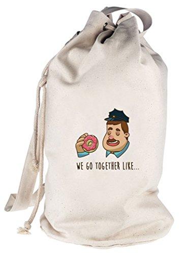 ShirtStreet Valentinstag bedruckter Seesack Umhängetasche Donuts + Police Officer Motiv, Größe: onesize,natur