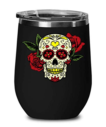 Sugar Skull Wine Glass Tumbler Stemless Vacuum Insulated Gothic Coffee Cup Stainless Steel Rose Flower Heart Skull Mug Straw Friendly Clear Lid