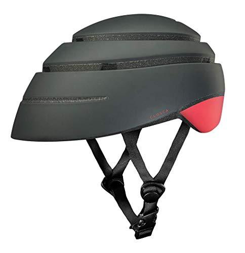 Closca Casco de Bicicleta para Adulto, Plegable Helmet Loop. Casco de Bici y Patinete Eléctrico/Scooter para Mujer y Hombre Unisex. Negro/Coral, Talla M