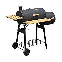 Outsunny Backyard Charcoal BBQ Grill and Smoker Combo