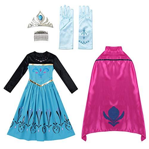 iiniim Vestido Princesa Azul Niña con Capa Diadema Guantes...