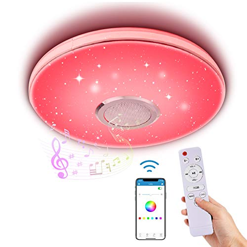 Lámpara de Techo Led Regulable,Lacyie 36W Bluetooth Luces para música Con Mando a Distancia,6500K Cool Blanco Calido Ajustable RGB Cambio de Colorlámpara Techo, Ideal Para Salón, Dormitorio Fiesta