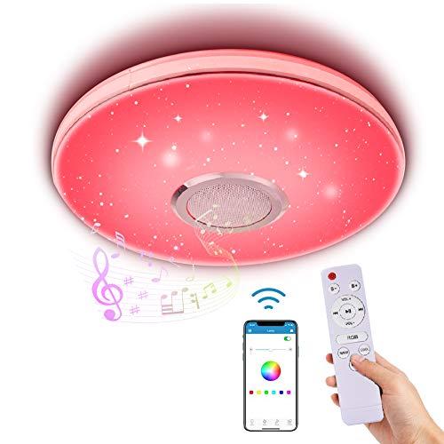 Lámpara de Techo Led Regulable,Lacyie 36W Bluetooth Luces para música Con Mando a Distancia,6500K Cool Blanco Calido...