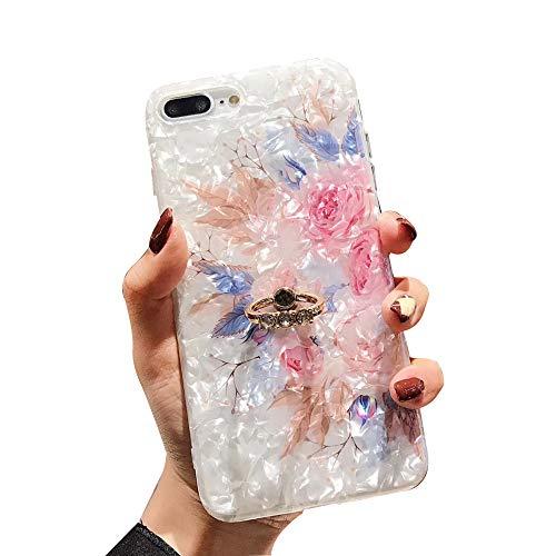 WYCcaseA Funda Compatible para iPhone 12/12 Mini/12 Pro MAX Carcasa con Anillo Giratorio De 360 Grados Concha Patrón Anti Rasguños Anti Arañazos,Rosado,11promax