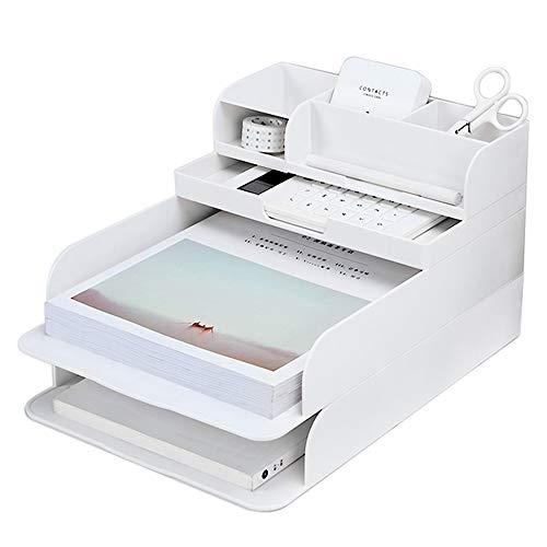 Baffect Organizador de archivos de escritorio Organizador de bandejas de 3 niveles con bolígrafo, bandejas de oficina de oficina A4, bandejas de archivos de letras A4 apilables (blanco)