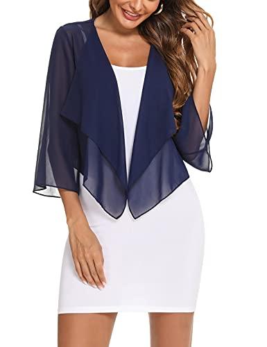 Aibrou Bolero elegante de gasa para mujer, chaqueta de verano ligera y transparente, con mangas 3/4. azul marino XXL