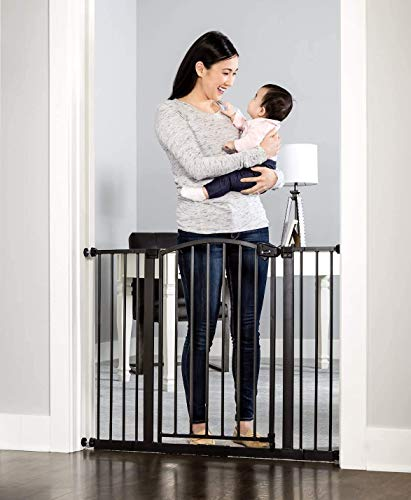 Regalo Easy Step Arched Décor Walk Thru Baby Gate, Includes 4-Inch Extension Kit, 4 Pack Pressure Mount Kit and 4 Pack Wall Mount Kit, Bronze
