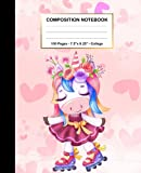Composition Notebook: Cute Unicorn Playing Roller Skate, Notebook For School College Ruled, 7.5 x 9.25, 100 Pages, Wide Blank Lined Workbook for Teens, Kids, Students, Girls | Wide Ruled Unicorn