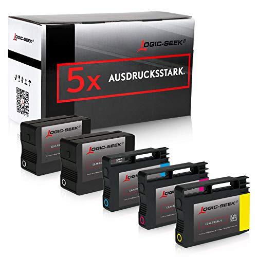 Logic-Seek 5er-Pack Tintenpatronen kompatibel zu HP 932XL 933XL für HP Officejet 6600 6100 6700 7511 7510 7610 7612