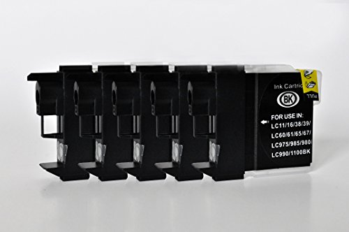 Printing Saver LC-1100/LC-980 Pack de 5 Negro Cartuchos de Tinta compatibles para Brother DCP-145C 165C 195C 383C 385C 395CN 585CW 6690CW MFC-250C 290C 490CW 5490CN 5890CN 5895CW 6490CW 990CW J615W
