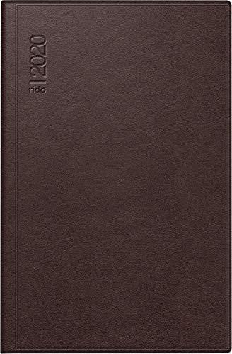 rido/idé 701616827 Taschenkalender partner/Industrie I (2 Seiten = 1 Woche, 72 x 112 mm, Leder-Einband, Kalendarium 2020) dunkelrot