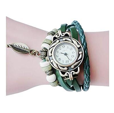 Hot Sale! Women Quartz Fashion Boho Style Retro Weave Wrap Around Leather Bracelet Wrist Watch