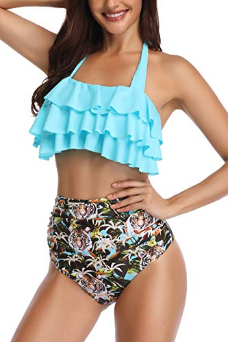 Heat Move Women Retro Flounce High Waisted Bikini Halter Neck Two Piece Swimsuit(M, Sky Blue)