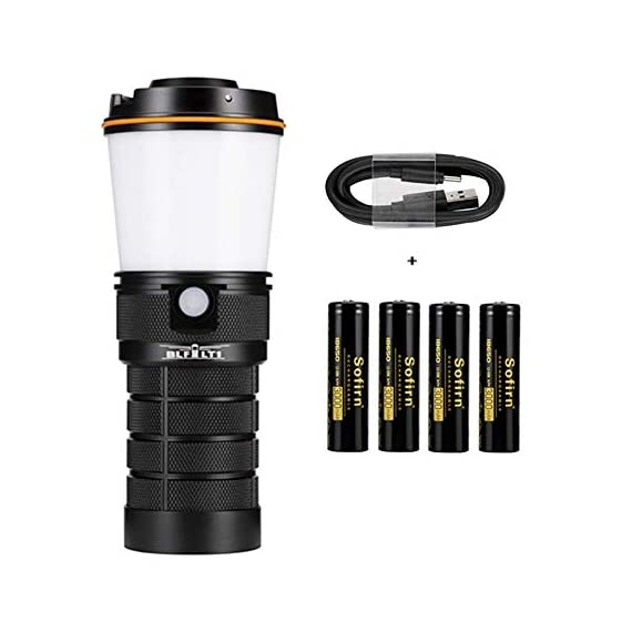 Sofirn blf lt1 lantern, led rechargeable camping lantern, 8x samsung lh351d leds powered by 4x 18650 batteries for… 1 usb-c charging port: lt1 comes with usb-c charging cable (adapter excluded). It accepts 5v 2a fast charging and can also be charged with a premium power bank or also be operated without batteries directly attached to the usb power adapter. While charging the button led glows red. It turns green once it get full charged. Quote: this product requires a usb-a to usb-c cable for charging (included). It cannot be charged with a usb-c to usb-c cable. Powered by 4x 18650 li-ion button top batteries with a maximum output of up to 600 lumens. Variable tint between warmwhite (2. 700k) and neutralwhite (5. 000k). Two selectable and configurable user interfaces with stepped ramping (discrete brightness levels) as default and smooth ramping (infinitely variable brightness) as alternative. Kindly read our manual for more details.