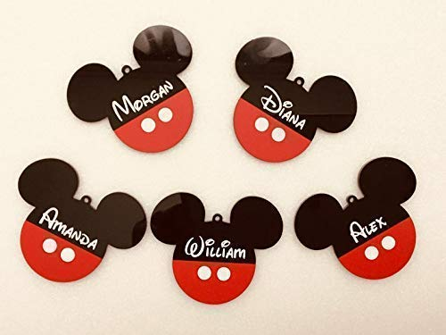 Personalized Mickey Minnie Mouse Head Name Ornaments Handmade Custom Disney Ears Birthday Party Decorations Black Red Disneyland Acrylic Hanging Bauble Tree Decor Baby Shower Party Christmas Gift Kids